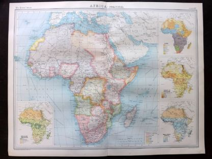 Bartholomew 1922 Large Map. Africa. Political Map